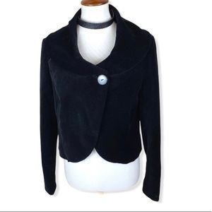 Kenar cropped velvet one button crossover jacket